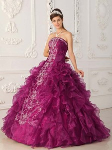 Fuchsia Ball Gown Strapless Floor-length Satin and Organza Embroidery Quinceanera Dress