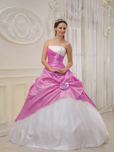 Lilac and White Strapless Floor-length Taffeta and Tulle Beading Quinceanera Dress