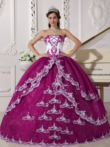 Fuchsia and White Ball Gown Strapless Floor-length Organza Appliques Quinceanera Dress