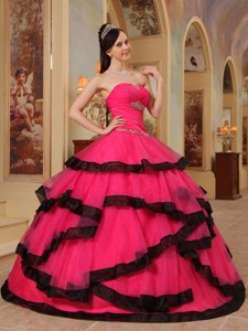 Red Ball Gown Strapless Floor-length Organza Appliques Quinceanera Dress