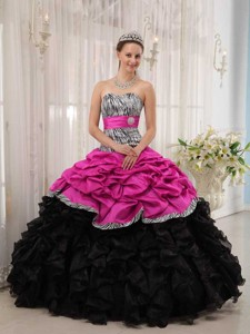 Brand New Hot Pink and Black Ball Gown Sweetheart Floor-length Quinceanera Dress