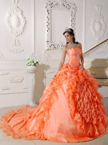 Orange Red Ball Gown Strapless Chapel Train Taffeta Beading Quinceanera Dress
