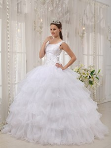 White Ball Gown Scoop Floor-length Satin and Organza Appliques Quinceanera Dress