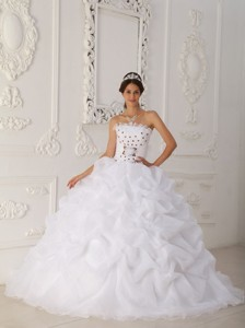 White Ball Gown Strapless Court Train Organza Beading and Hand Flower Quinceanera Dress