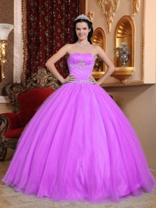 Hot Pink Ball Gown Sweetheart Floor-length Tulle and Taffeta Beading Quinceanera Dress