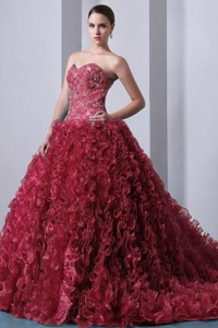 Red Princess Sweetheart Brush Train Organza Beading And Ruffles Quinceanea Dress