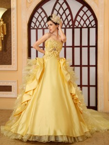 Beading Organza Strapless Cathedral Train Yellow Wedding Dress