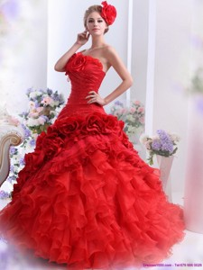 Romantic Strapless Dress For A Quinceanera With Hand Made Flowers