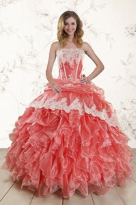 Popular Watermelon Quinceanera Dress With Appliques And Ruffles