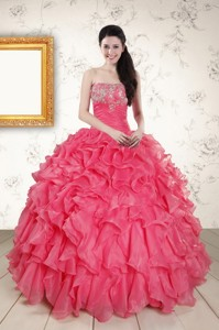 Hot Pink Strapless Quinceanera Dress With Beading And Ruffles