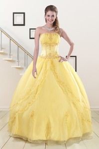 Wonderful Yellow Quinceanera Dress With Strapless
