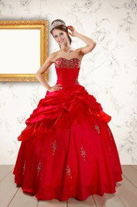 Beautiful Beading Sweetheart Red Quinceanera Dress