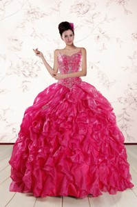 Beautiful Spaghetti Straps Beading Quinceanera Dress In Hot Pink