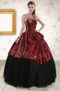 Pretty Ball Gown Embroidery Quinceanera Dress In Rust Red And Black