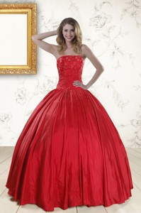 Cheap Red Strapless Sweet 16 Dress With Beading
