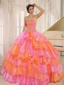 Ruflfled Layers and Appliques Decorate Up Bodice For Rose Pink and Orange Quinceanera Dress Customiz