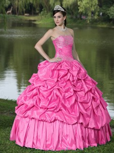 Hot Pink For Clearance Quinceanera Dress With Strapless Beaded Decorate Taffeta