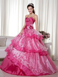 Hot Pink Ball Gown Sweetheart Floor-length Taffeta and Organza Beading and Hand Made Flower Quincean