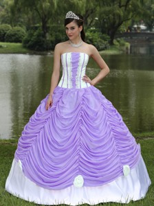 Custom Made Quinceanera Dress With Strapless Ball Gown Purple and Pick-ups
