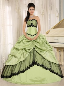 4962c18a6c Yellow Green and Black Pick-ups Appliques Quinceanera Dress For Custom Made  In Kamuela City
