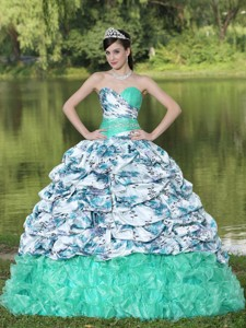 Colorful Printing And Organza Beaded Waist Pick-ups And Ruffles Brush Train Quinceanera Dress