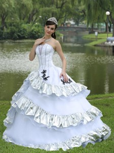 Ball Gown Quinceanera Dress For Military Ball Appliques On Taffeta Organza Strapless