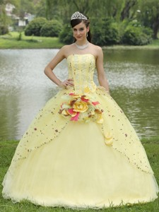 Appliques Embroidery Light Yellow Quinceanera Dress Strapless Floor-l