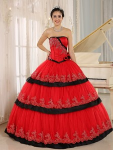 Red Hand Made Flowers Custom Made Quinceanera Dress
