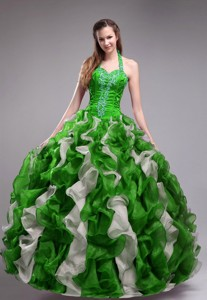 Green Ball Gown Halter Orangza Applqiues and Ruffles Quinceanera Dress