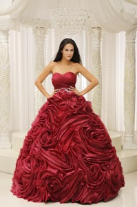 Wine Red Sweetheart Neckline Beaded Decorate Wasit Hand Made Flower Quinceanera Dress Fo