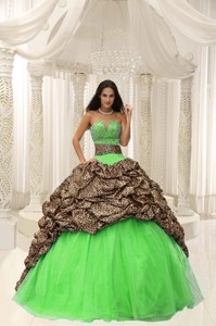 Leopard and Organza Beading Decorate Sweetheart Neckline Quinceanera Dress