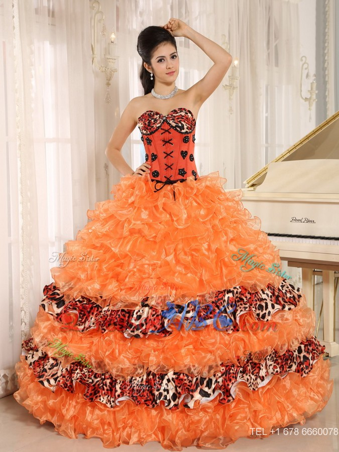 81894f03f2 Orange Ruffles Appliques Sweetheart Quinceanera Dress Leopard In Honaunau City  Hawaii