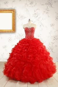 Luxurious Sweetheart Beading Red Quinceanera Dress