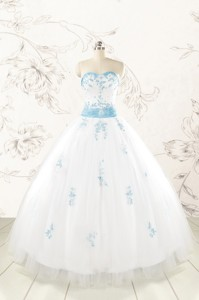 Discount Appliques And Beading White Ball Gown Quinceanera Dress