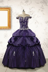 Latest Off The Shoulder Appliques Quinceanera Dress In Purple
