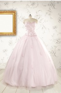 Pretty Appliques Light Pink Quinceanera Dress