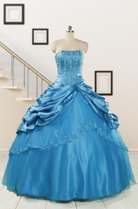 Spring Fashionable Appliques Teal Quinceanera Dress
