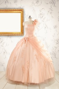 Pretty One Shoulder Appliques Quinceanera Dress In Peach