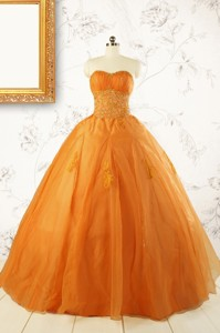 Princess Orange Quinceanera Dress With Appliques