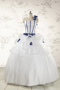 Elegant White One Shoulder Hand Made Flower Quinceanera Dress