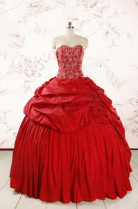 Red Affordable Sweetheart Beading Quinceanera Dress