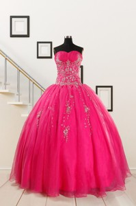 Pretty Sweetheart Hot Pink Quinceanera Dress With Beading
