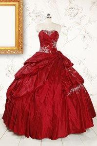 Wine Red Appliques Sweetheart Quinceanera Dress