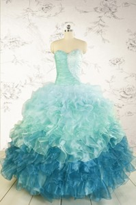 Prefect Blue Quinceanera Dress With Beading And Ruffles