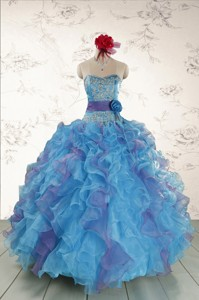 Pretty Strapless Appliques And Ruffles Quincedress In Multi Color