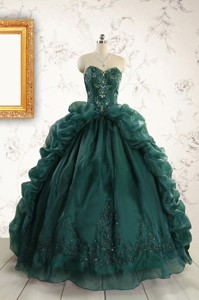 Luxurious Dark Green Sweet 16 Dress With Beading