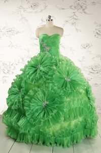 Classical Green Quinceanera Dress With Appliques And Ruffles