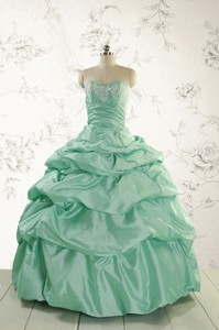 Luxurious Apple Green Quinceanera Dress With Beading And Pick Up