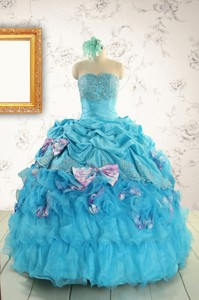 Cheap Aqua Blue Appliques Quinceanera Dress With Appliques