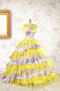 Popular Beading Yellow Sweet 15 Dress With Sweep Train